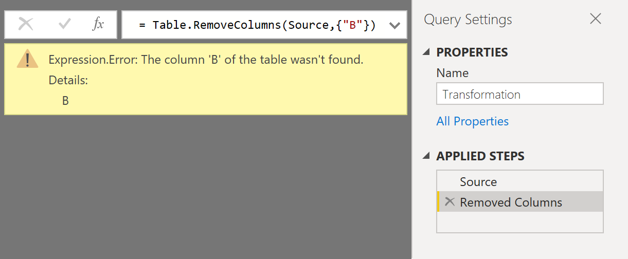 Error when removing columns in Power Query